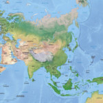 Vector Map Asia Continent Shaded Relief One Stop Map