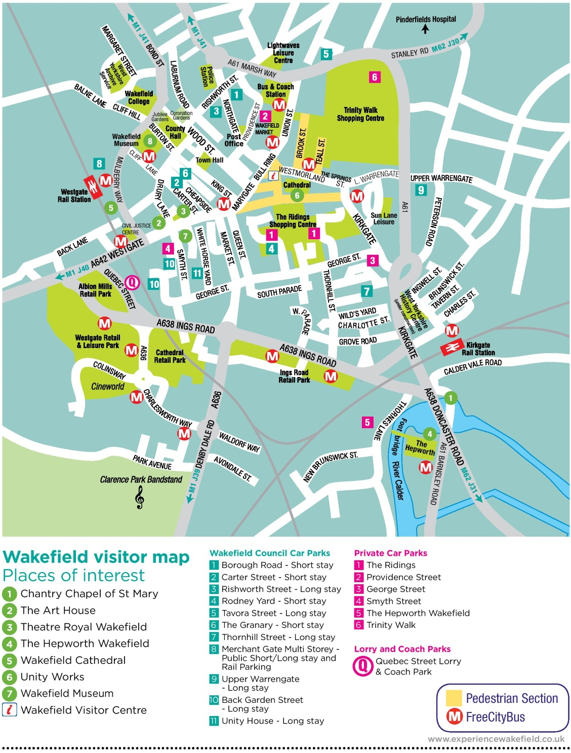 Wakefield Tourist Map