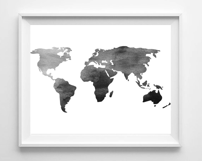 Watercolor World Map Print Printable Black White Wall Art