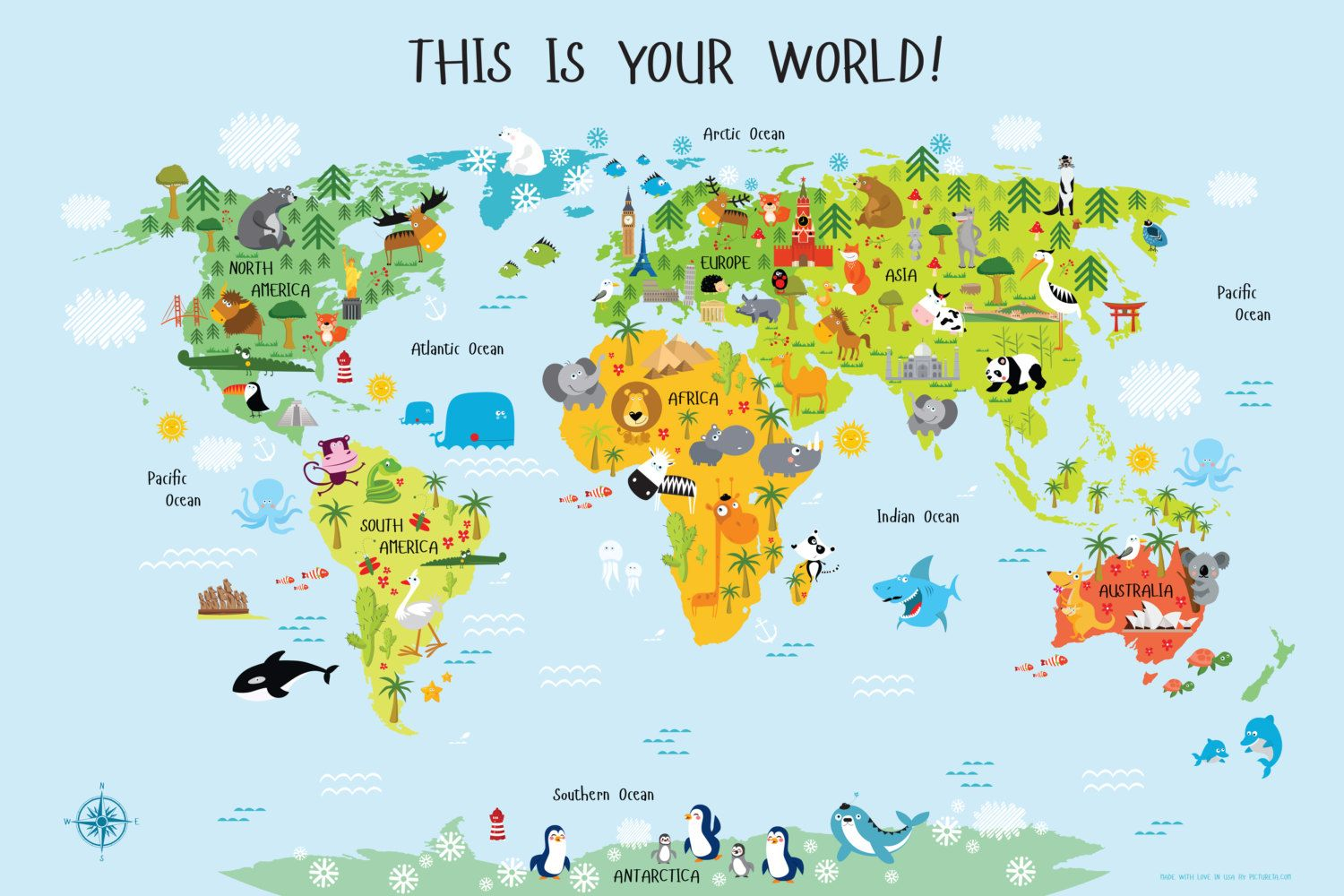 World Map For Kids Instant Download High Resolution By