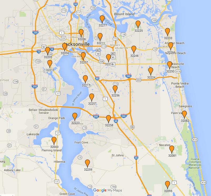 Zip Code Map Jacksonville Florida Jacksonville Zip Codes
