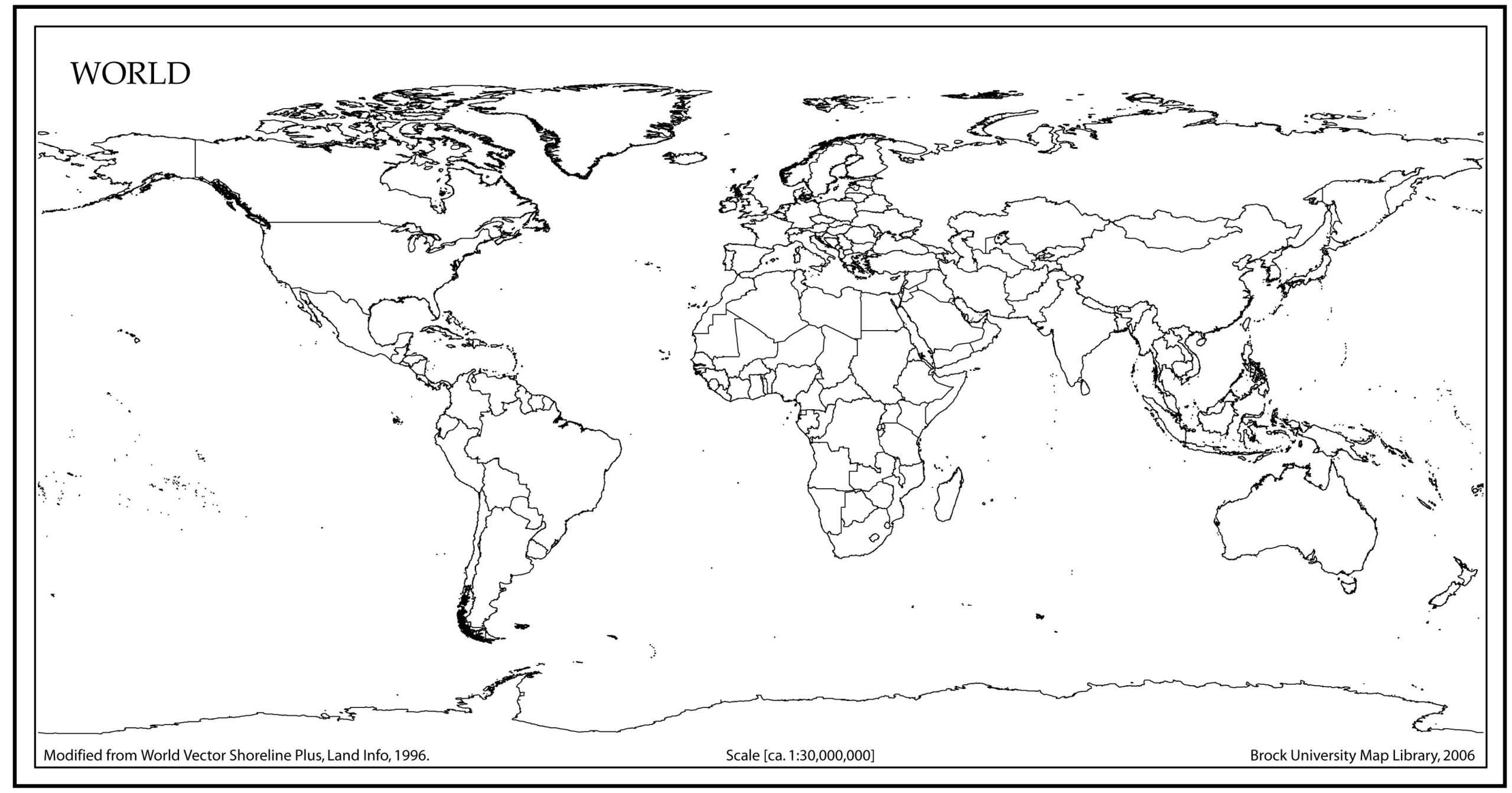 7 Best Images Of Blank World Maps Printable PDF