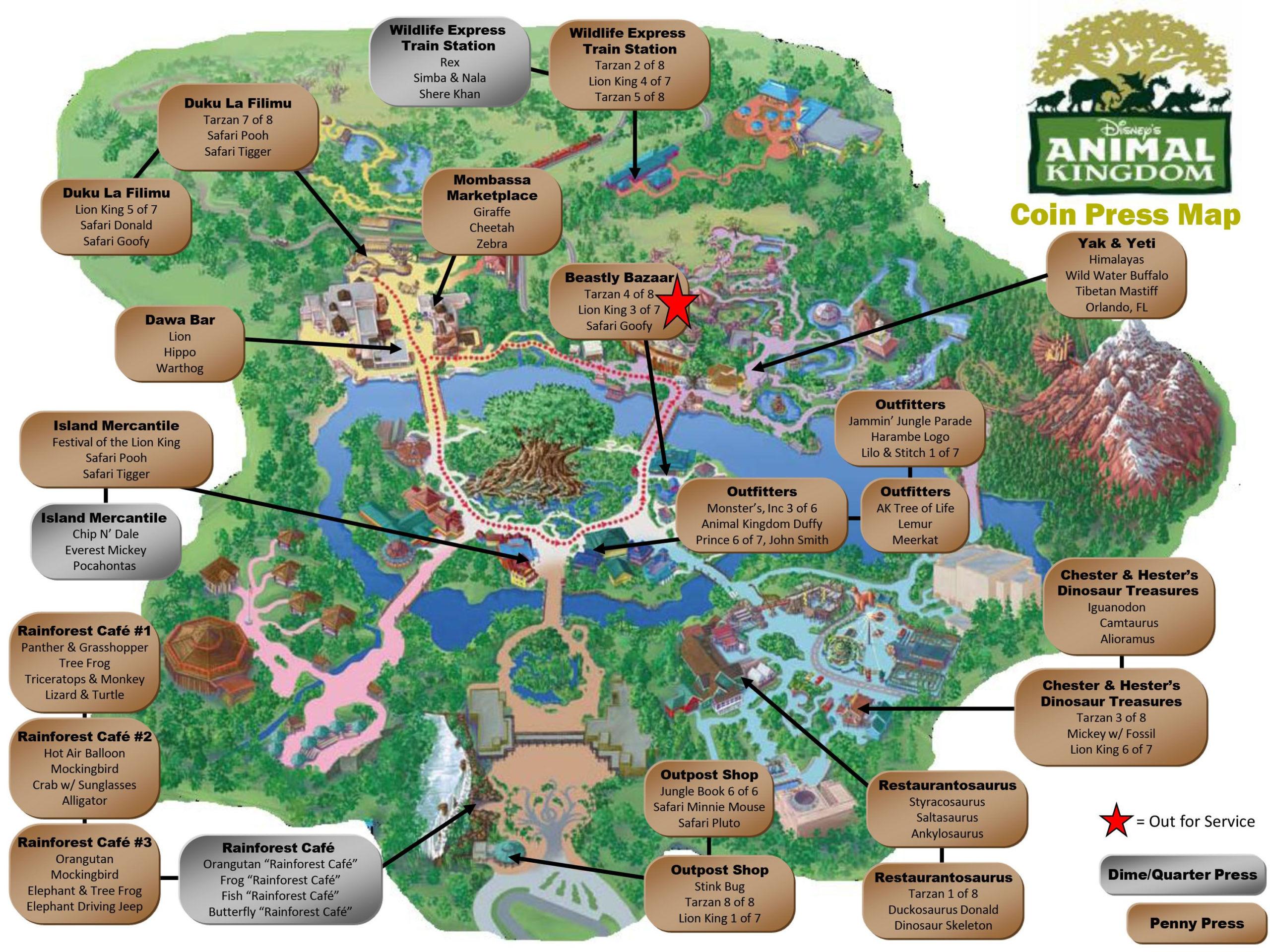 Animal Kingdom Pressed Pennies Map Disney World Map
