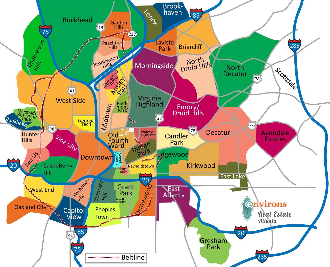 Atlanta Neighborhood Map Map Of Atlanta Neighborhoods