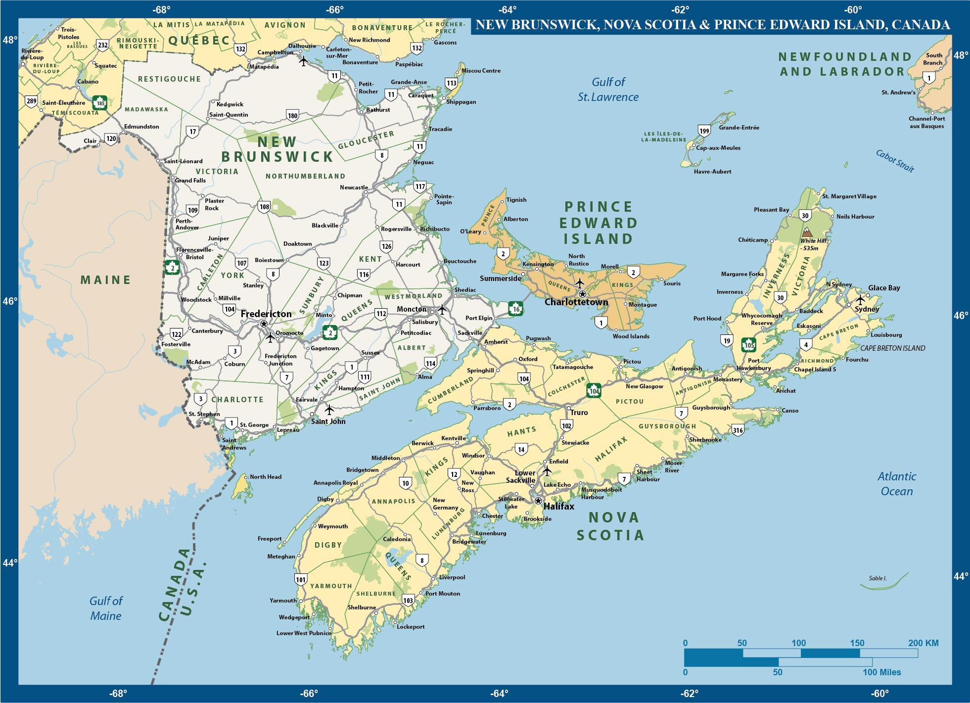 Atlantic Provinces Map Digital Creative Force