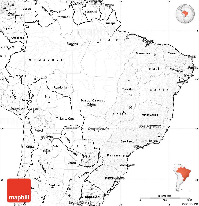 Blank Simple Map Of Brazil