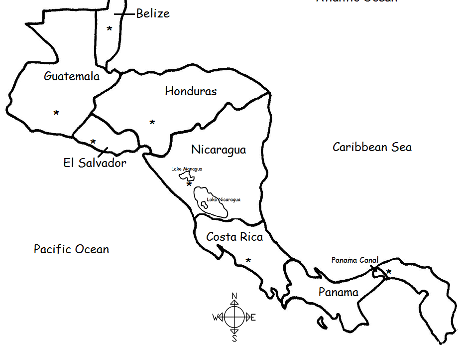 Central America Countries And Capitals Printable