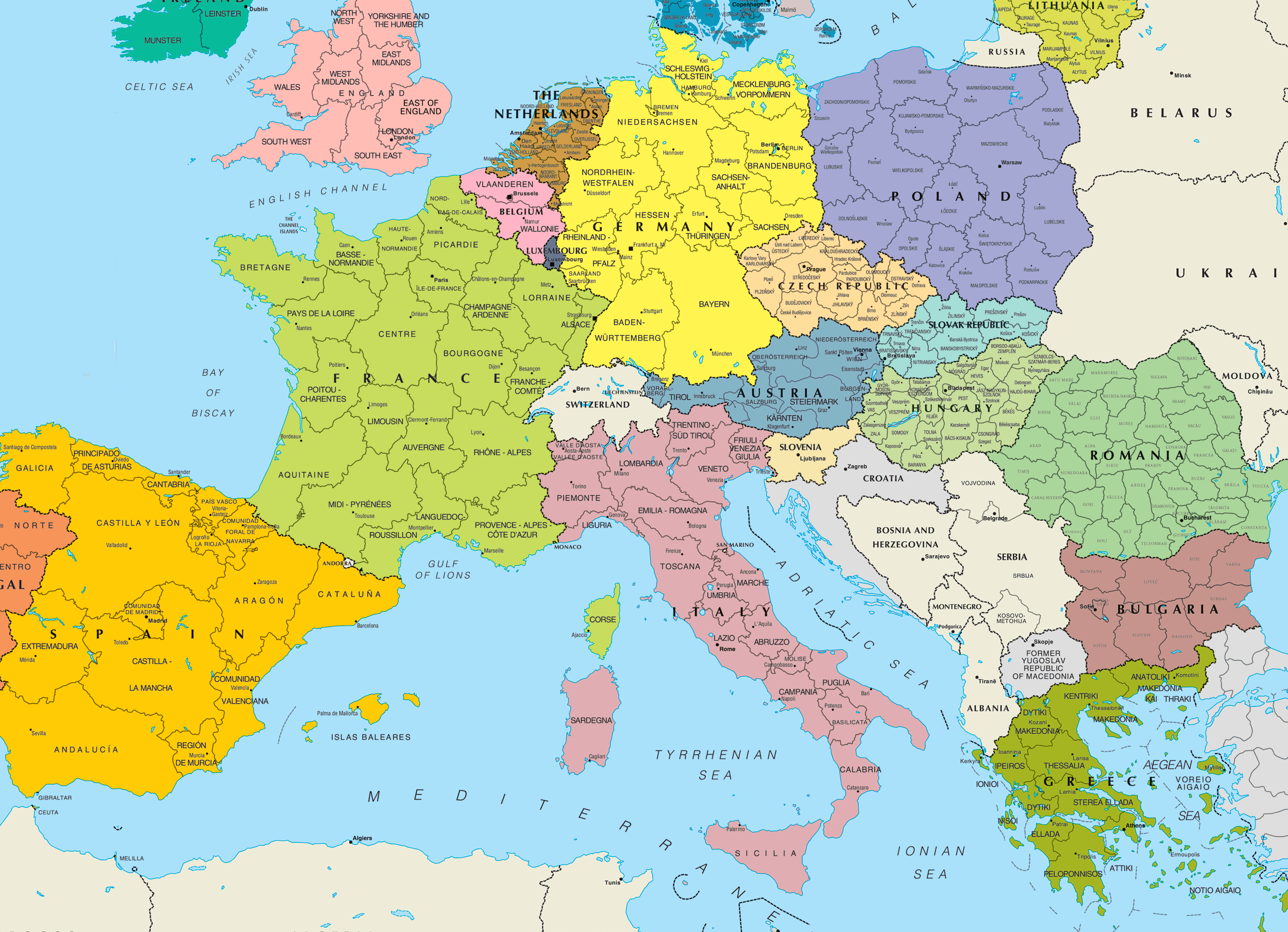Central Europe Political Map Mapsof