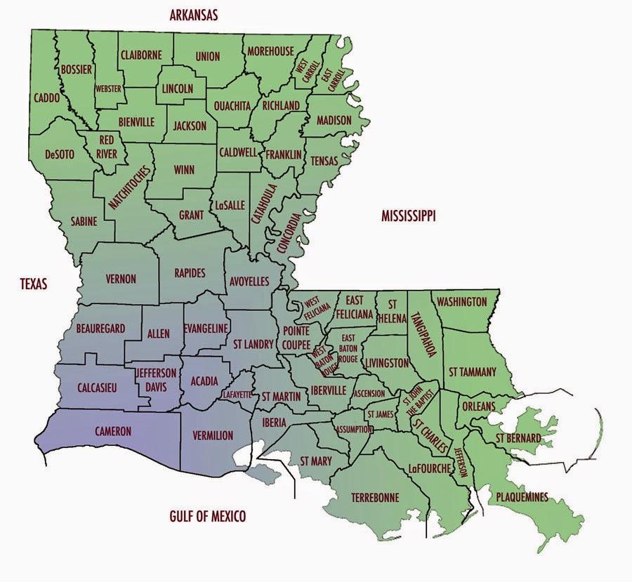 City And Parish Map Of Louisiana Free Printable Maps