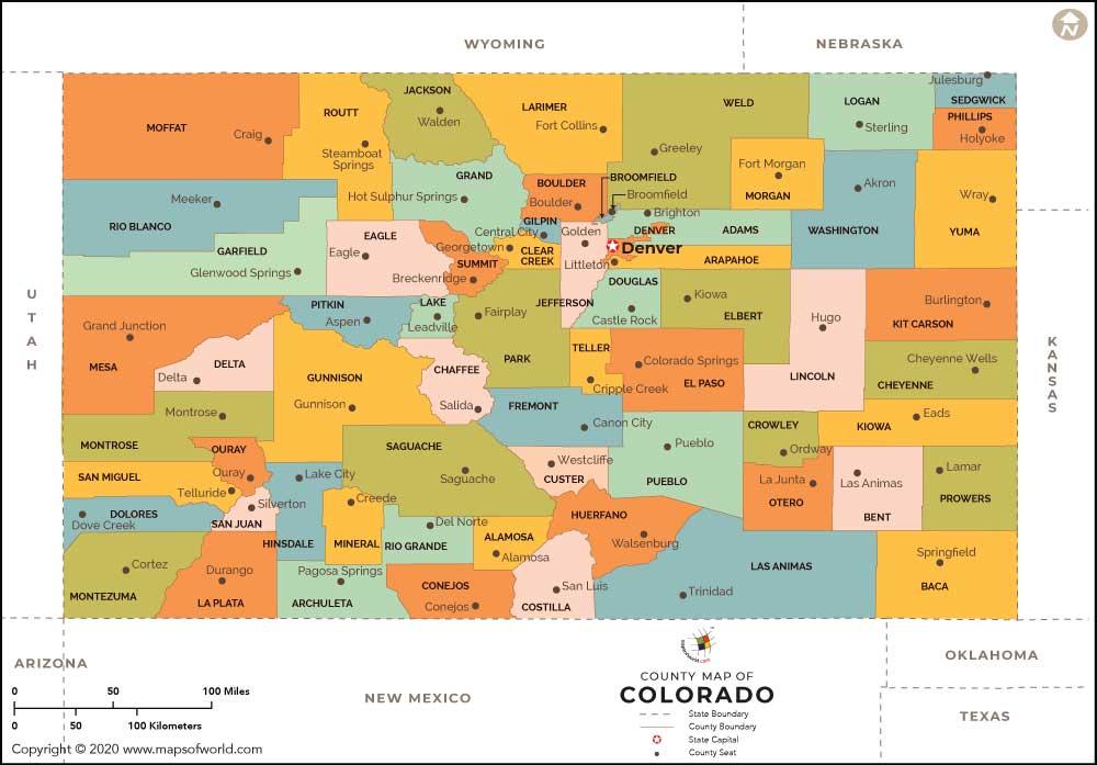 Colorado County Map Colorado Counties