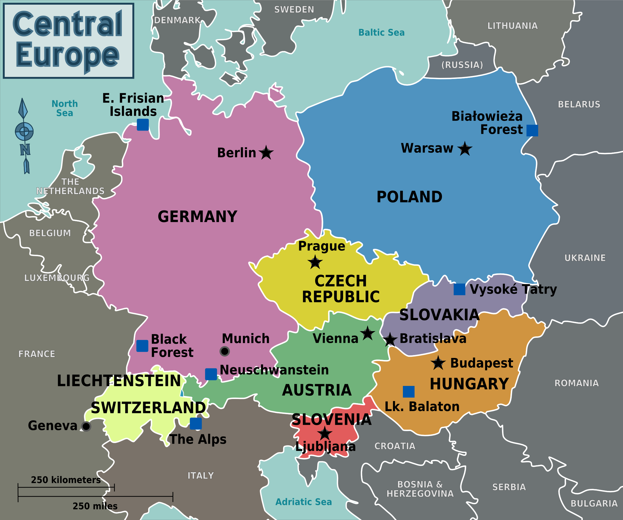 Countries Of Central Europe Central Europe Europe Map