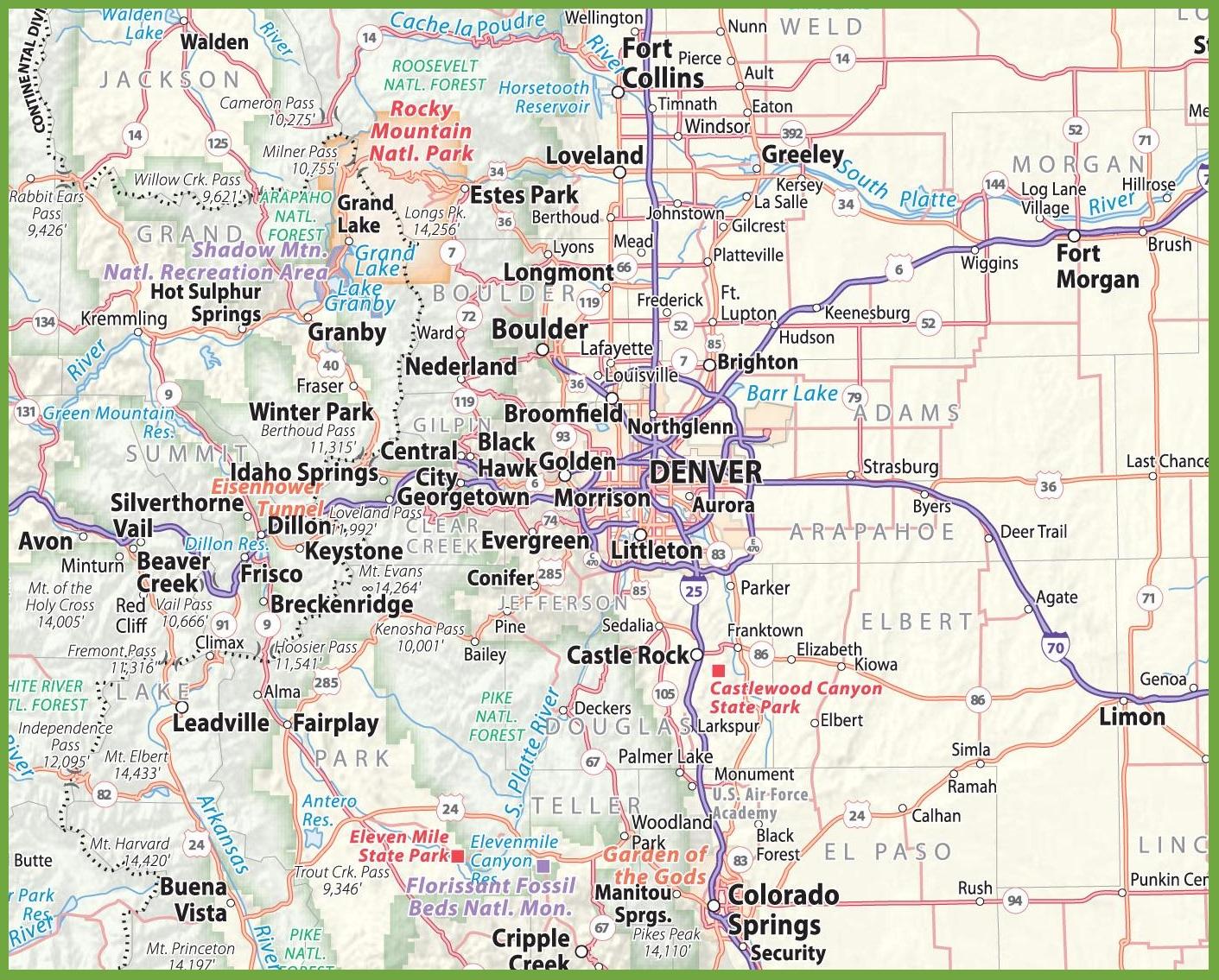 Denver Area Road Map