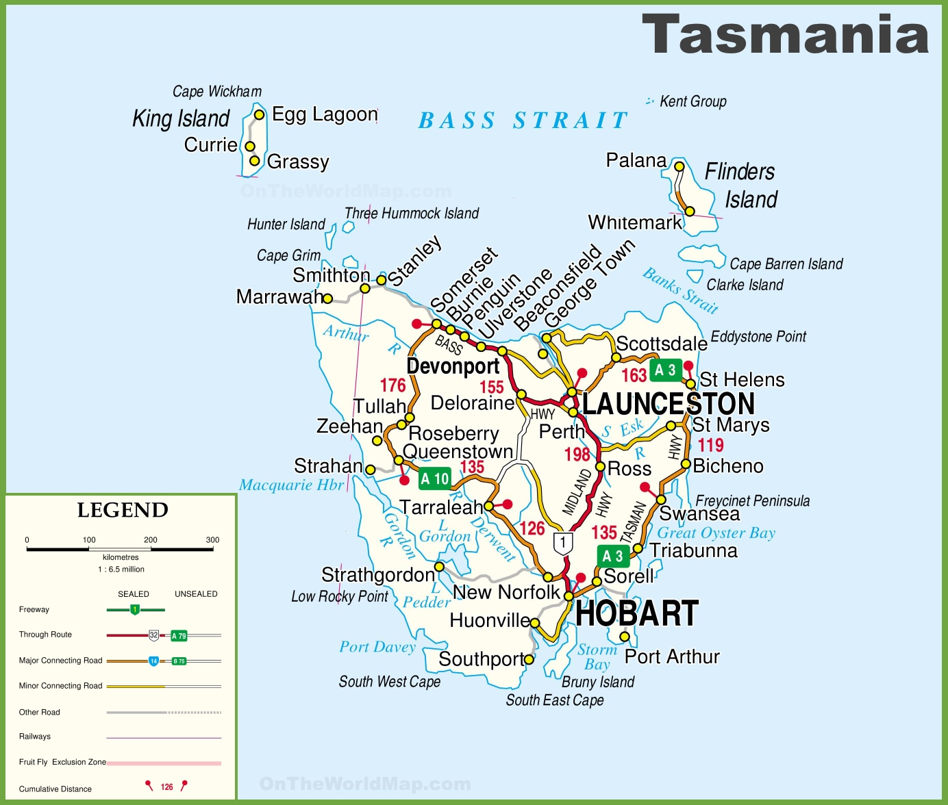 Detailed Tasmania Road Map With Cities And Towns