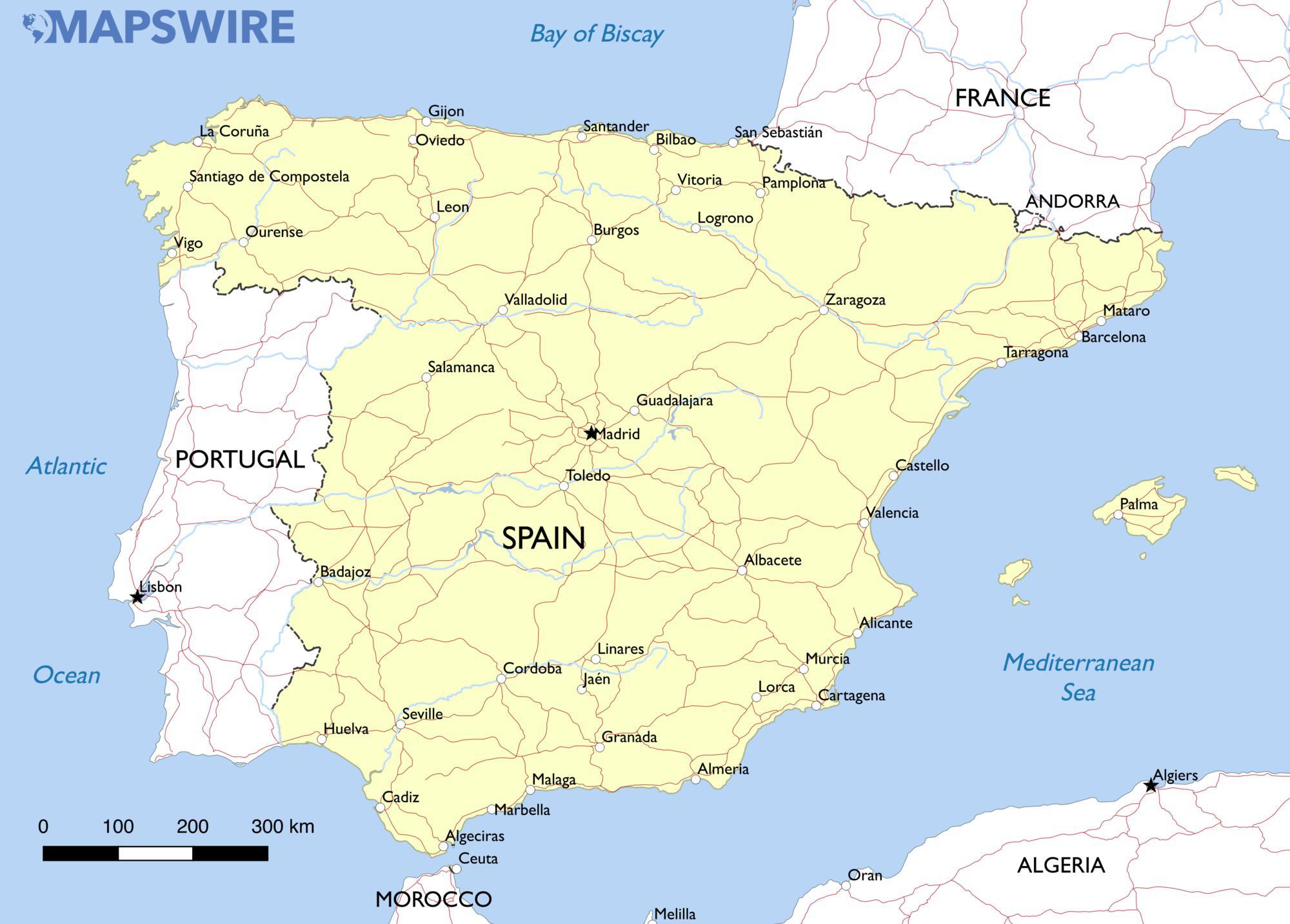 Free Maps Of Spain Mapswire