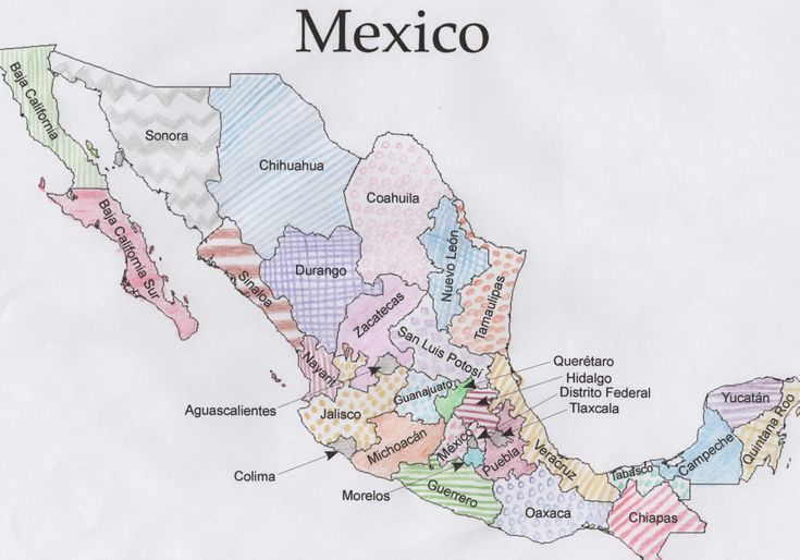 Free Mexico Geography Printable PDF With Coloring Maps