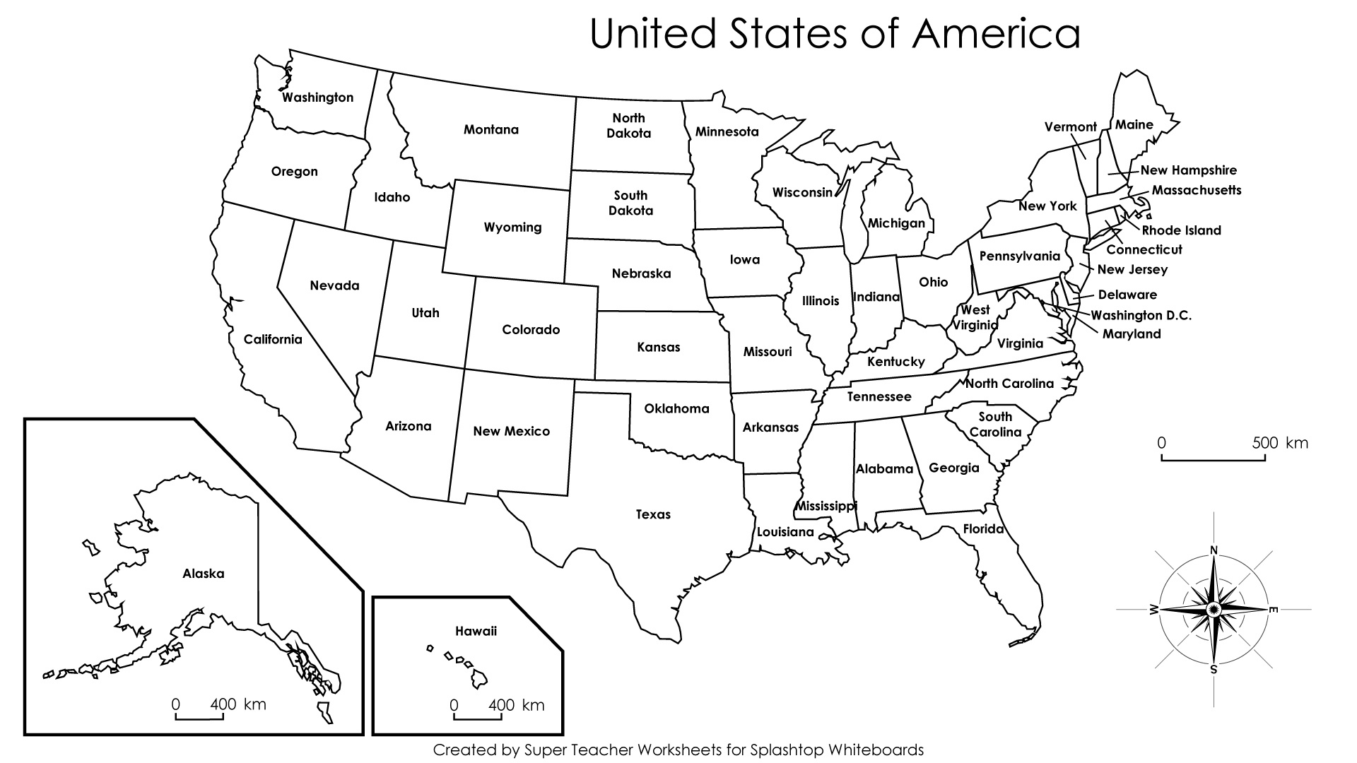 Free Printable Labeled Map Of The United States Free
