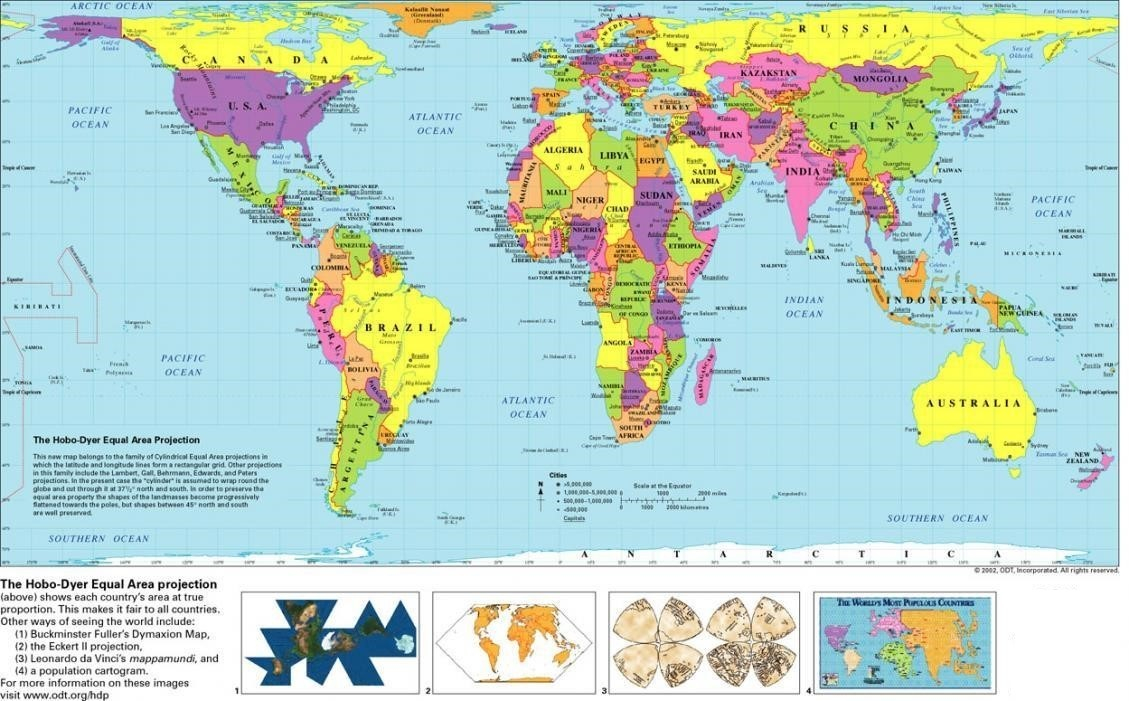 Free Printable World Map With Countries Template In PDF