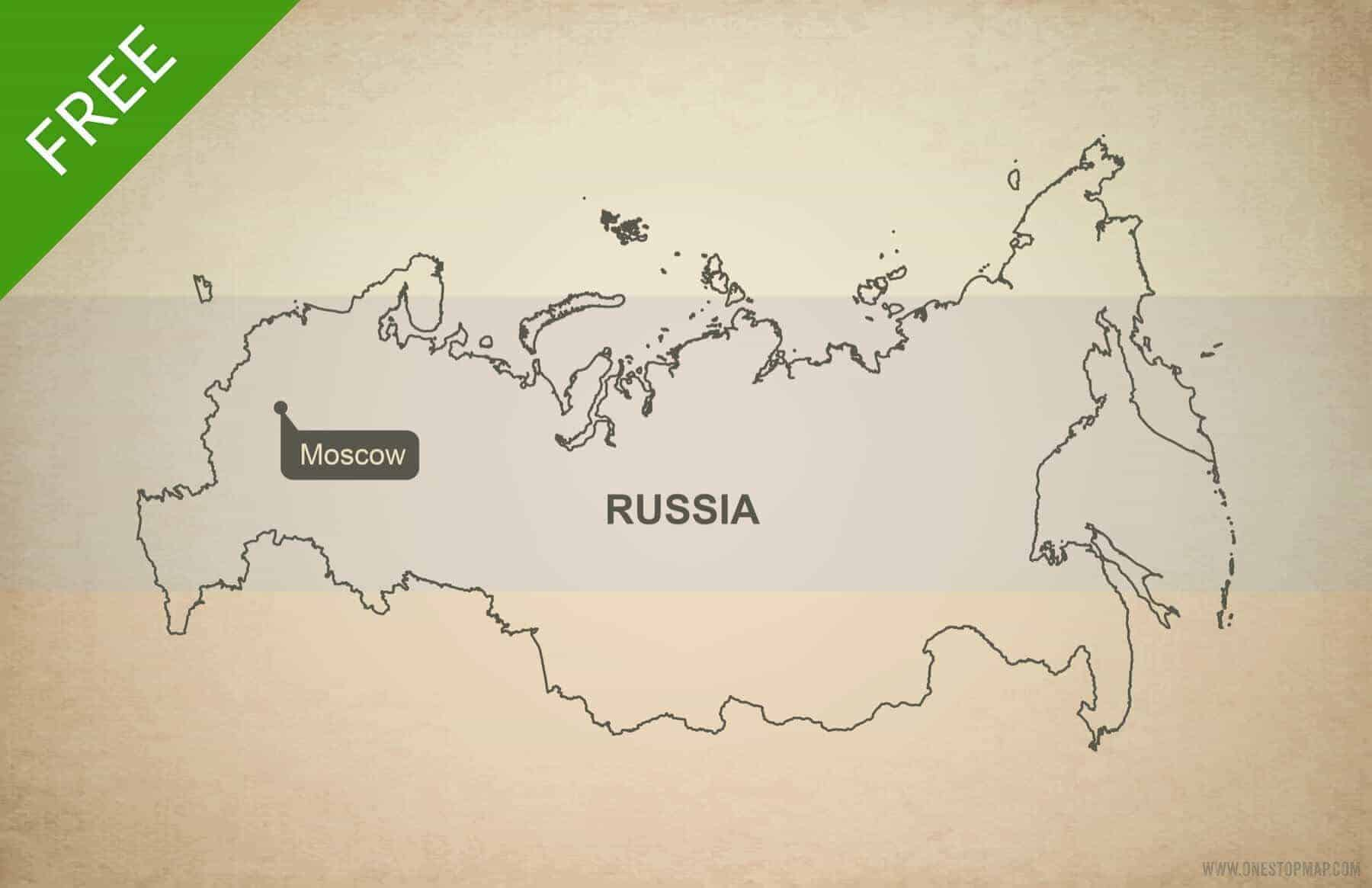 Free Vector Map Of Russia Outline One Stop Map