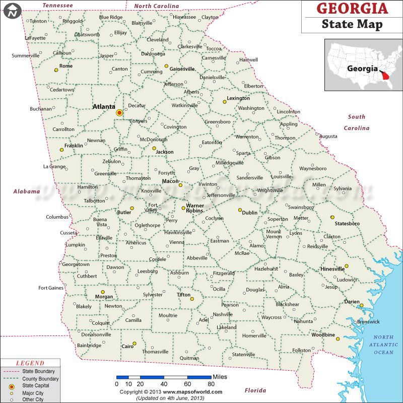 Georgia State Map Shows The State Capital Major Towns And