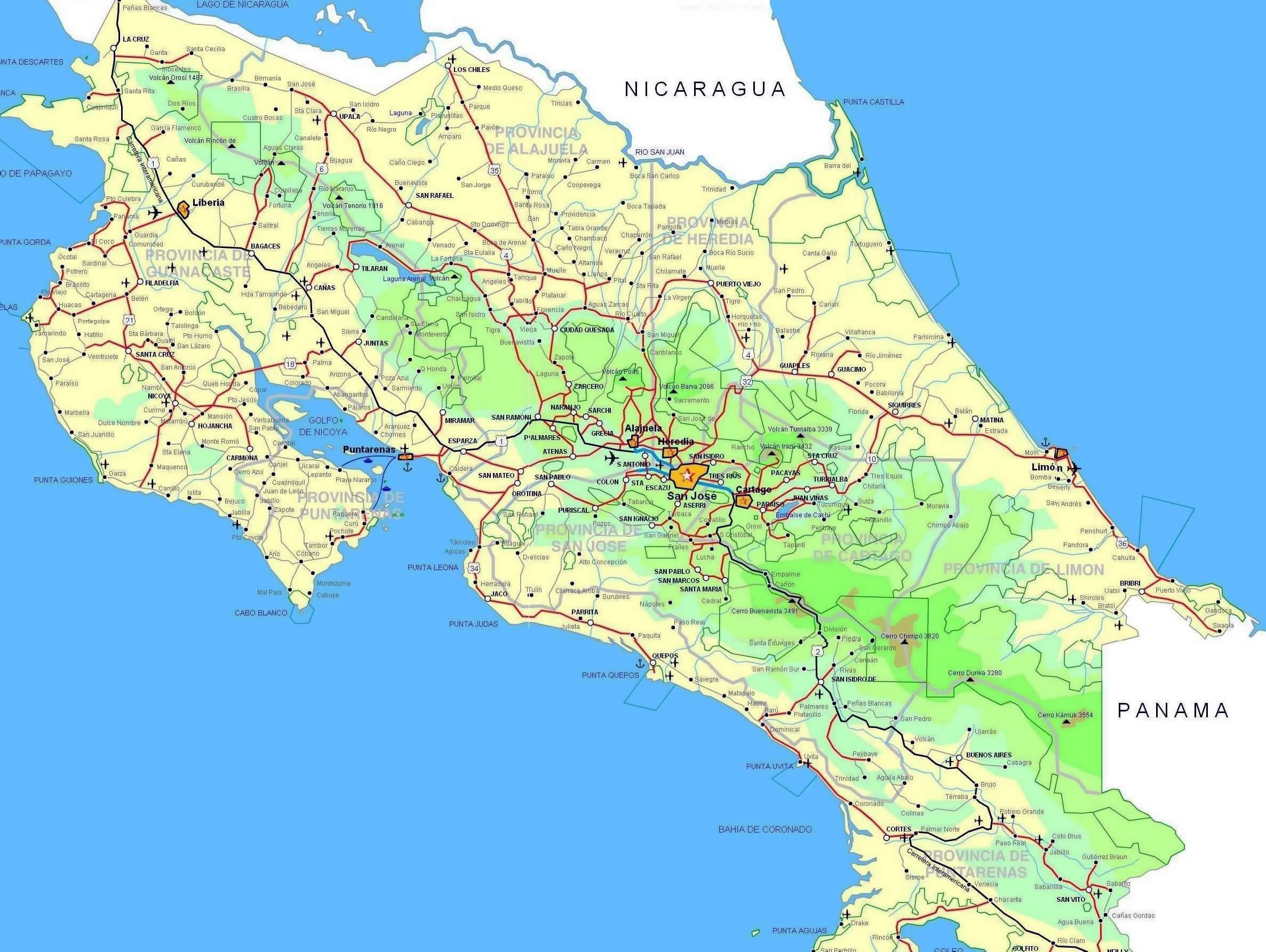 Image Result For Printable Driving Map Of Costa Rica