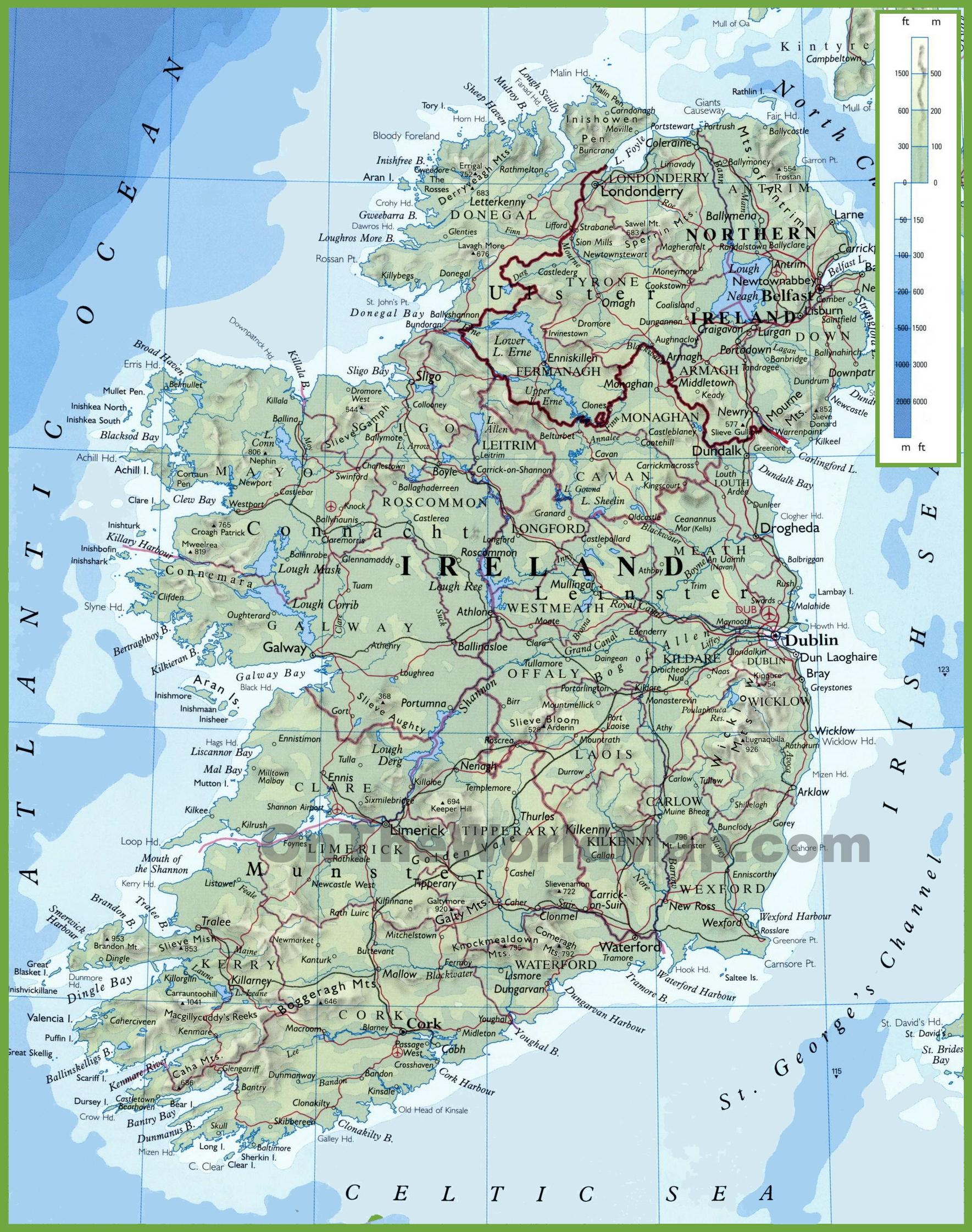 Ireland Physical Map