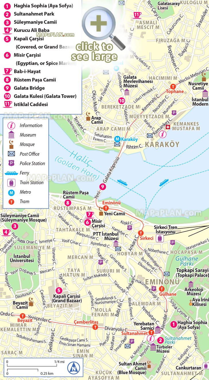 Istanbul Maps Top Tourist Attractions Free Printable