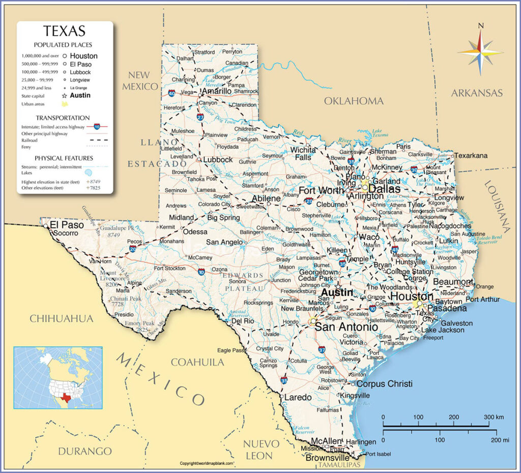 Labeled Map Of Texas With Cities World Map Blank And