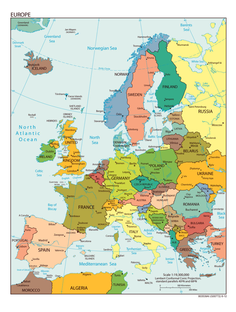 Large Detailed Political Map Of Europe With All Capitals