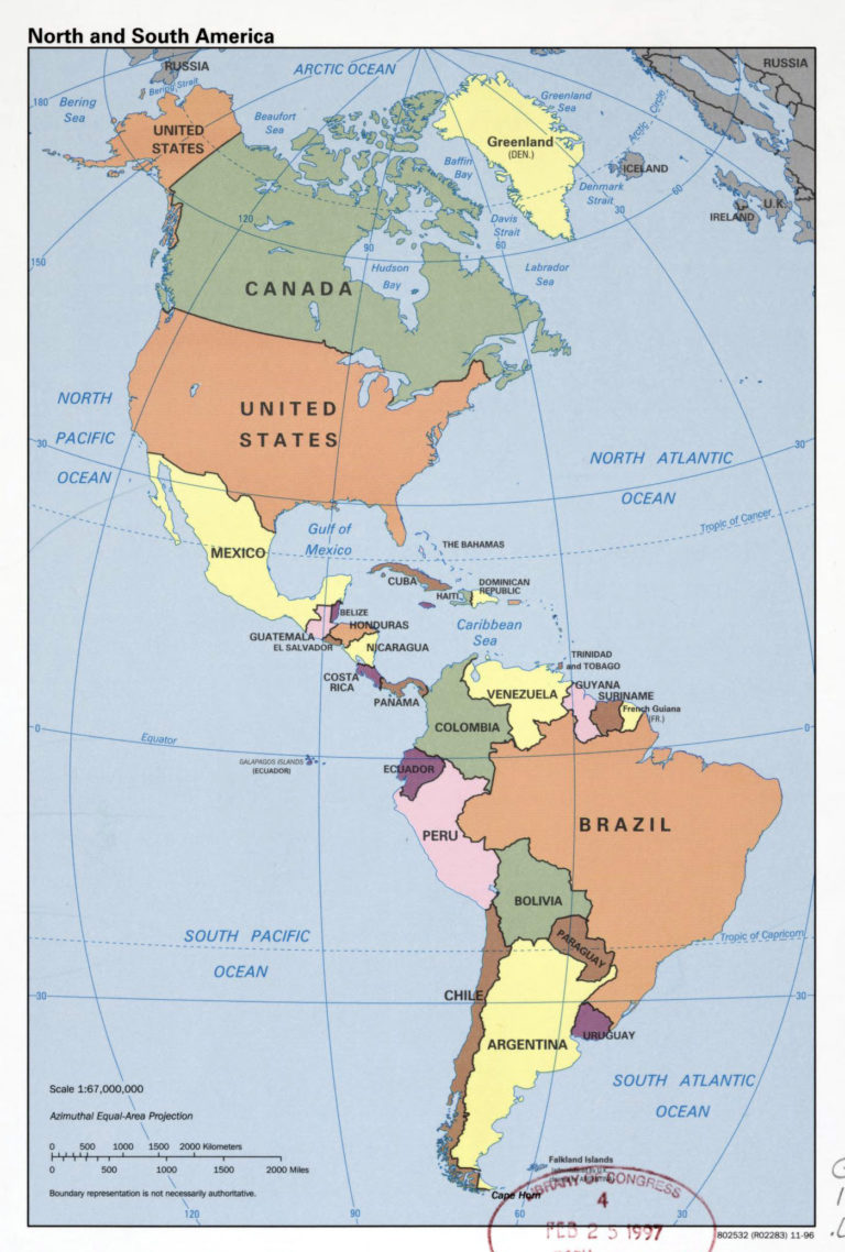 Large Detailed Political Map Of North And South America