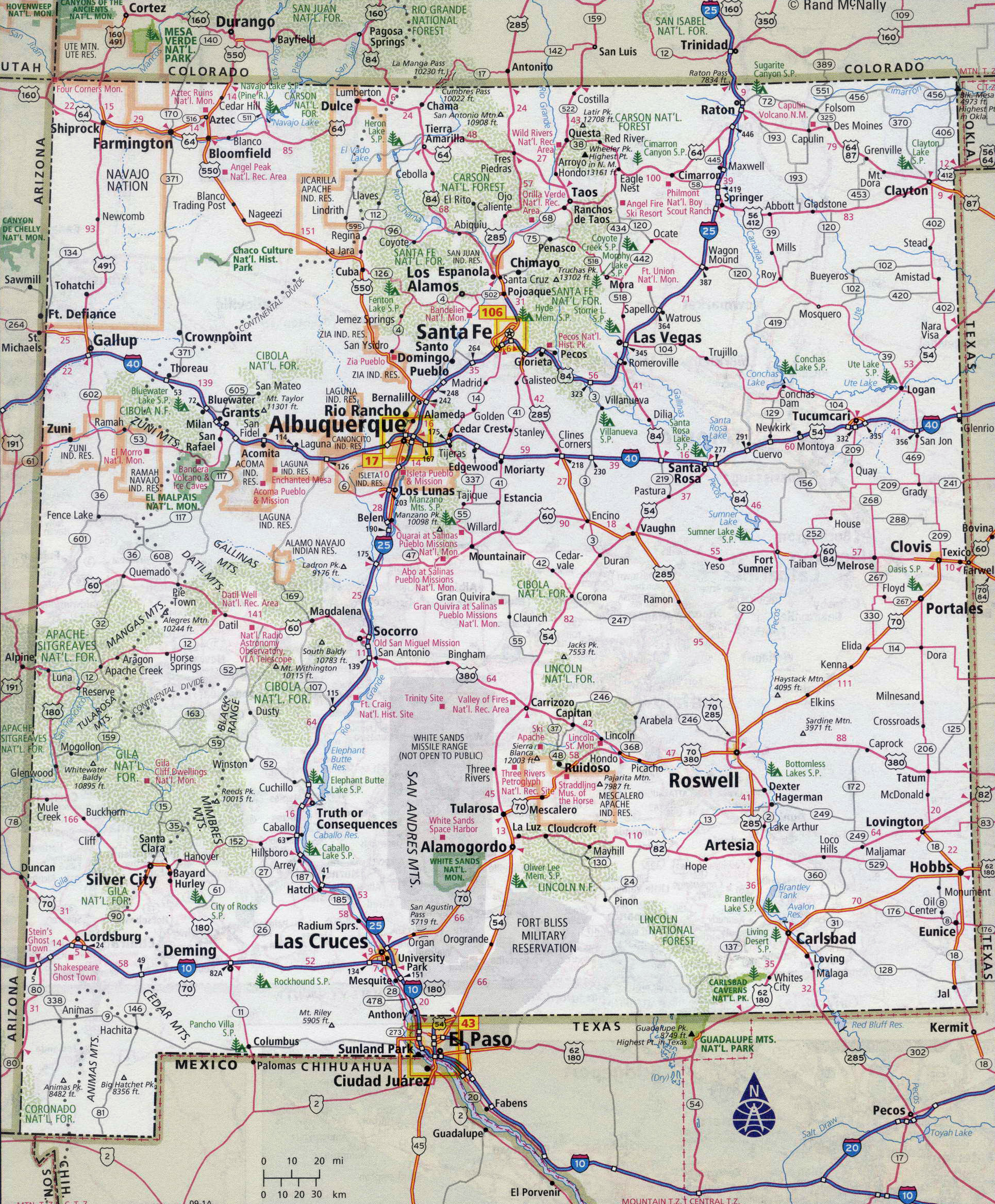 Large Detailed Roads And Highways Map Of New Mexico State