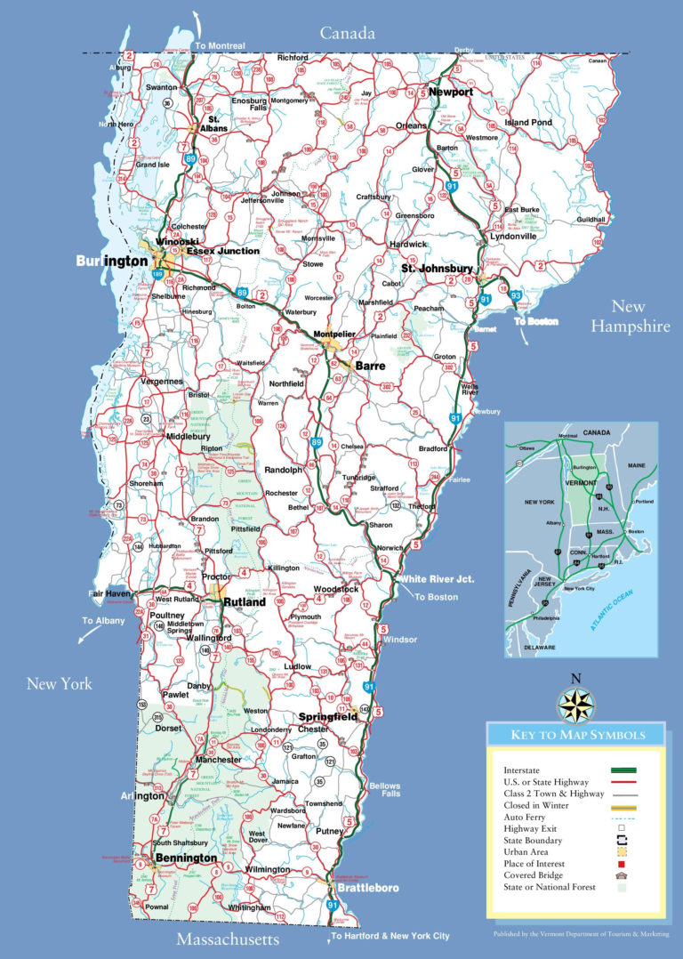 Large Detailed Tourist Map Of Vermont With Cities And Towns