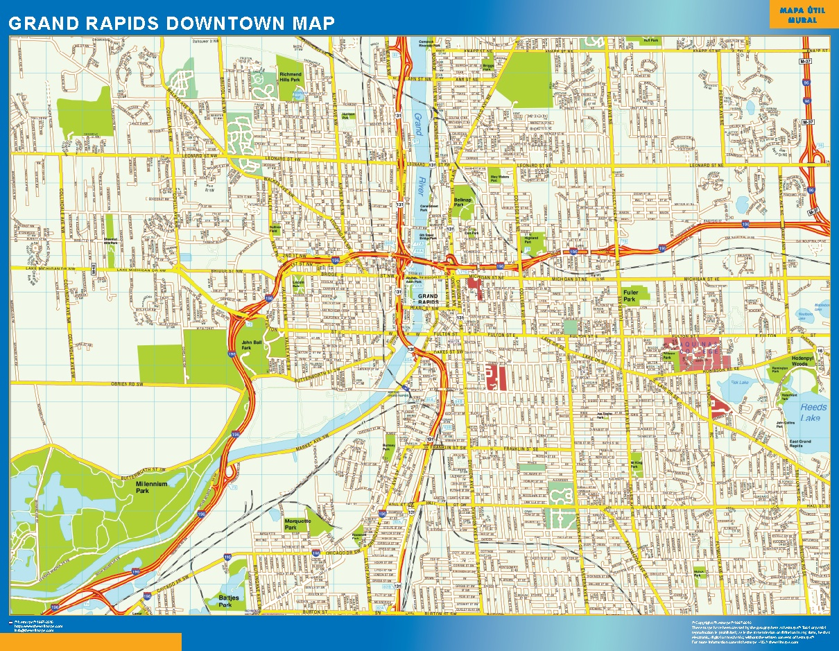 Look Our Special Grand Rapids Downtown Map World Wall