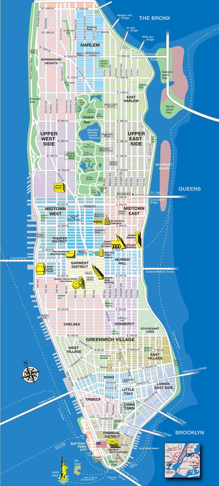 Manhattan Tourist Map Manhattan New York New York City