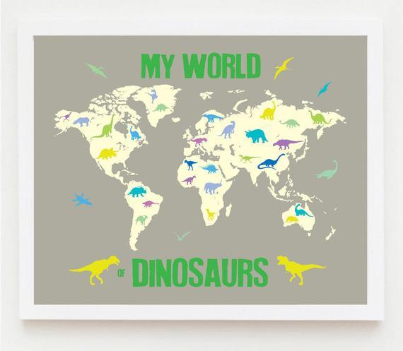 Map Children Printable Nursery Boy Dinosaur Wall
