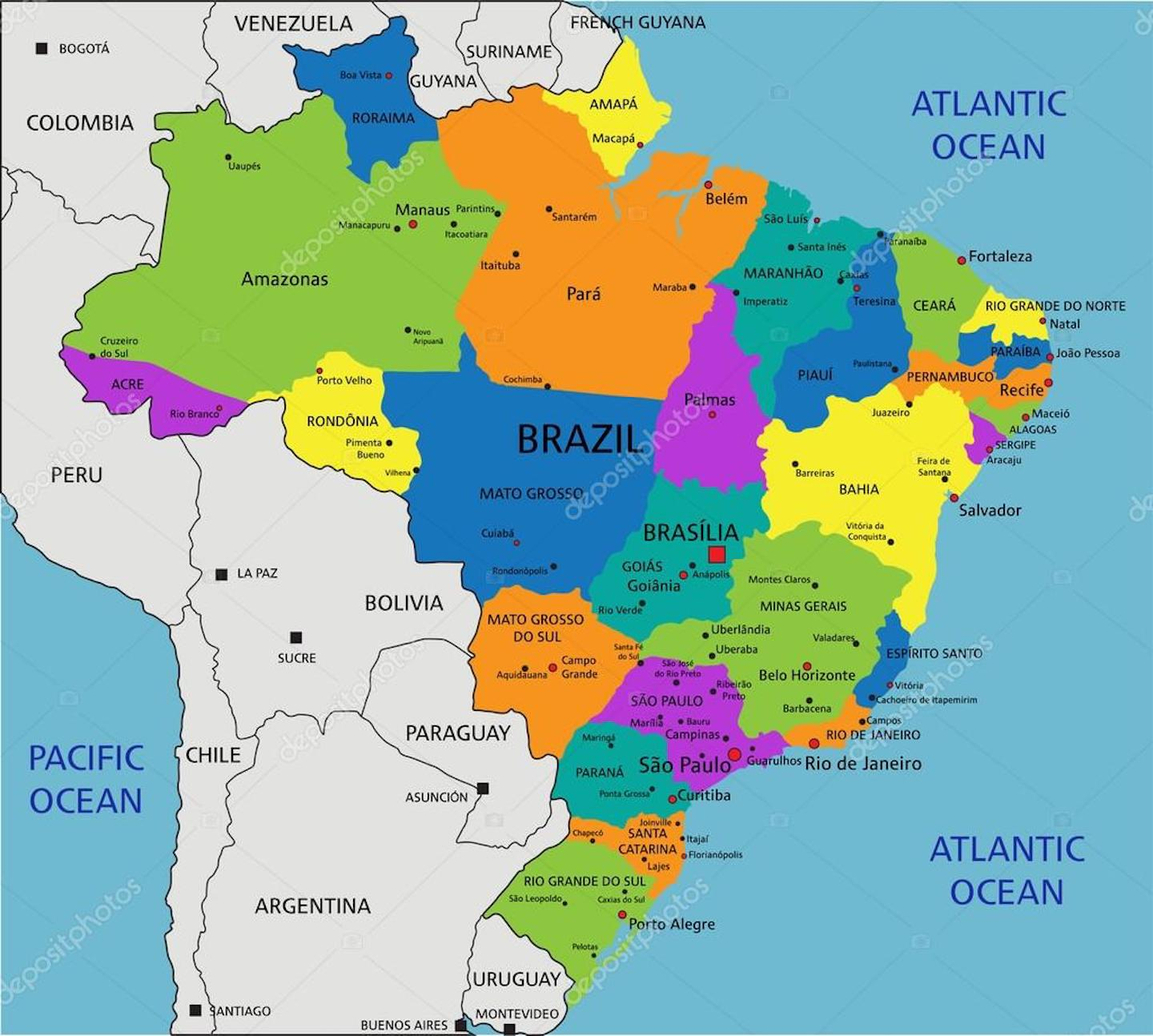 Map Of Brazil And 100 Other Free Printable International Maps