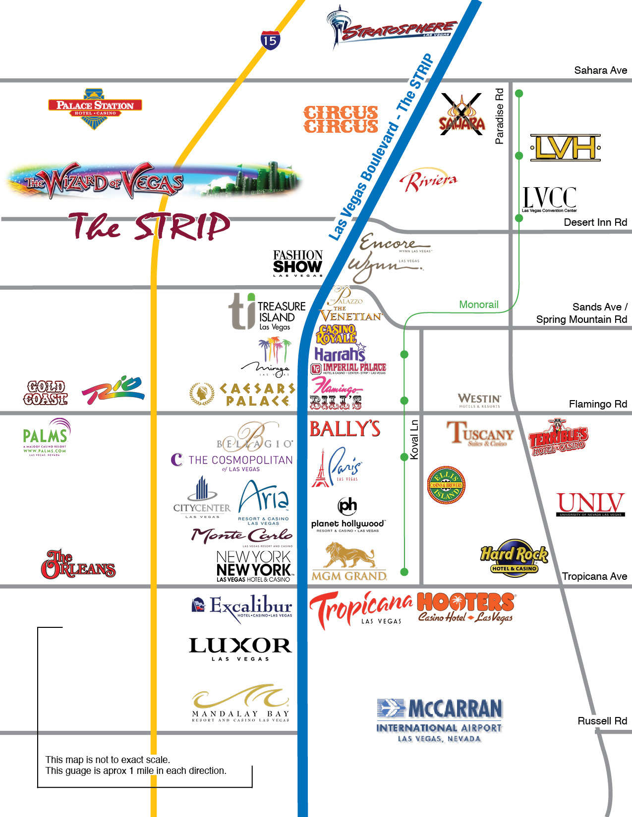 Map Of Las Vegas Strip Showing Hotels And Monorail 2018
