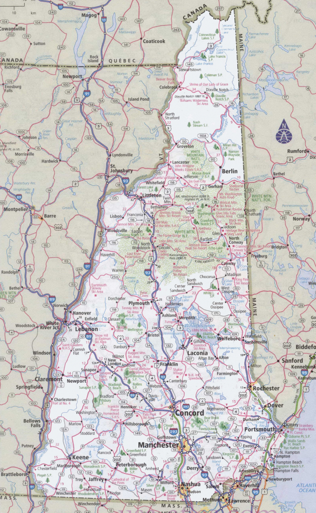 Map Of New Hampshire And Maine With Regard To Printable