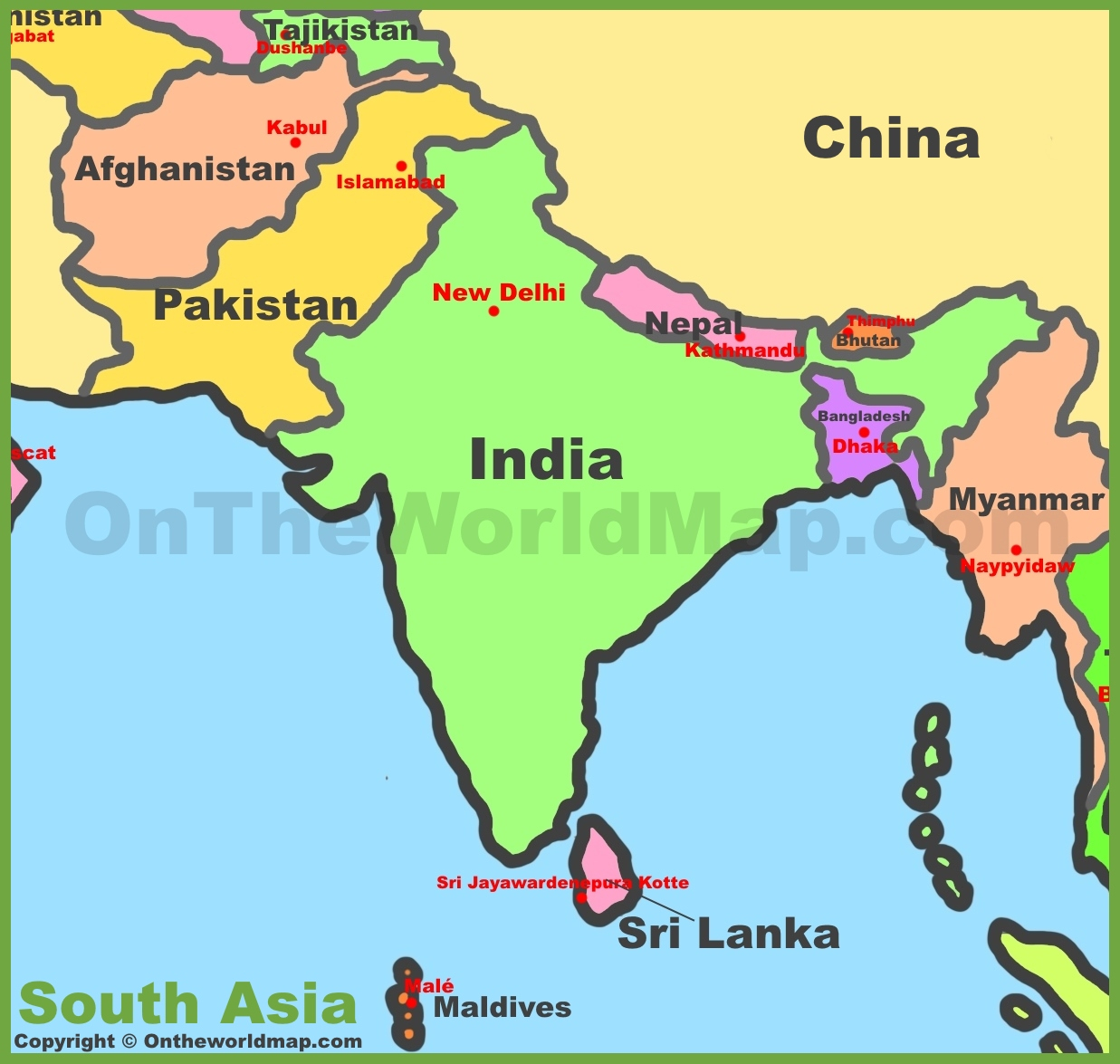 Map Of South Asia Southern Asia
