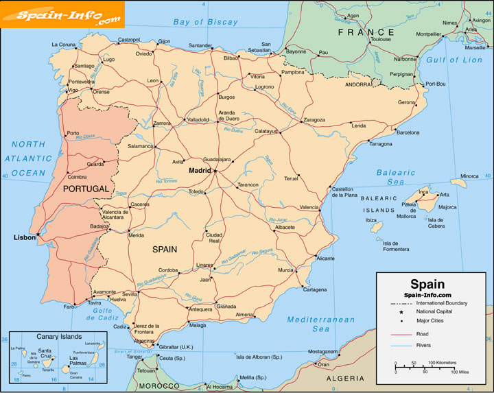 Map Of Spain Large