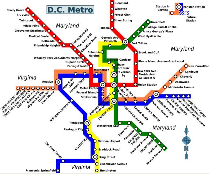 Map Of Washington DC Metro