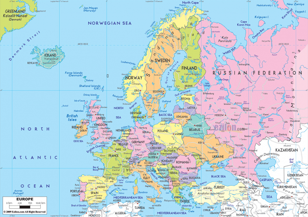 Maps Of Europe Regarding Printable Map Of Europe With
