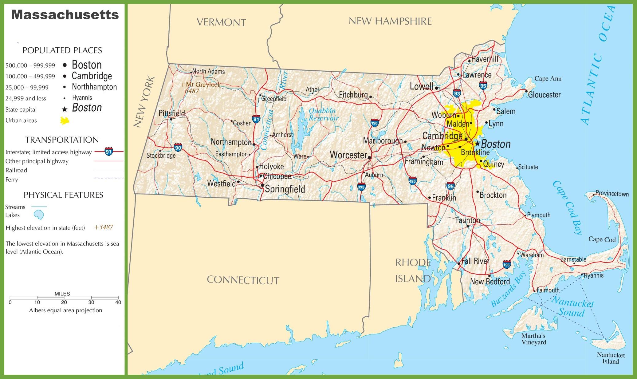 Massachusetts Highway Map
