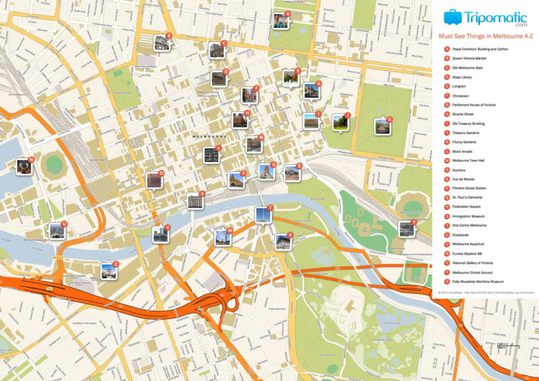 Melbourne Printable Tourist Map With Images Melbourne