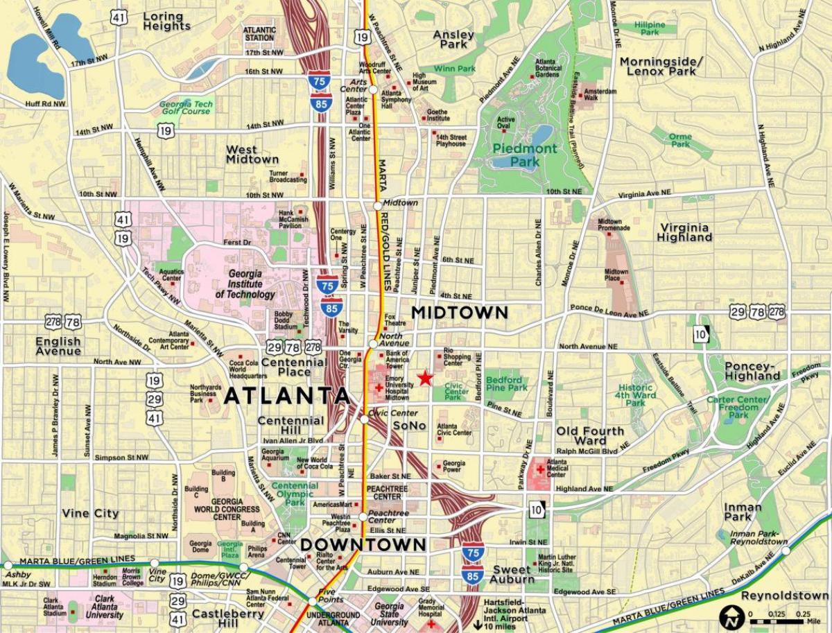 Midtown Atlanta Map Map Of Midtown Atlanta United