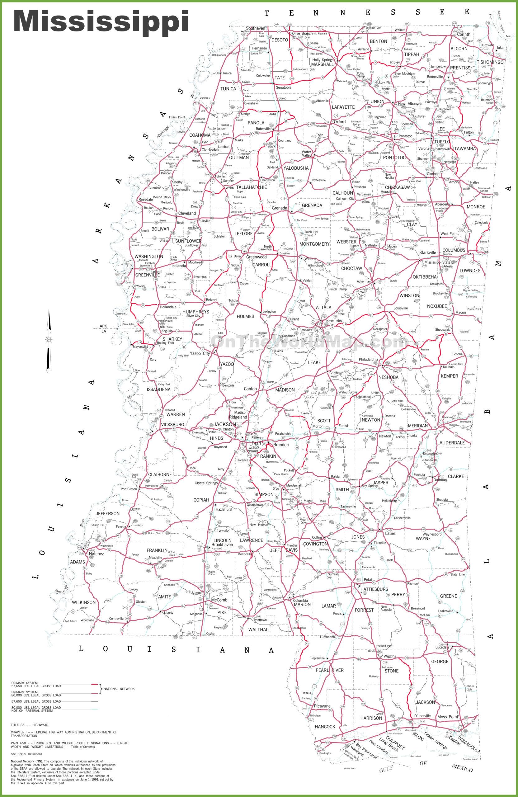 Mississippi Road Map