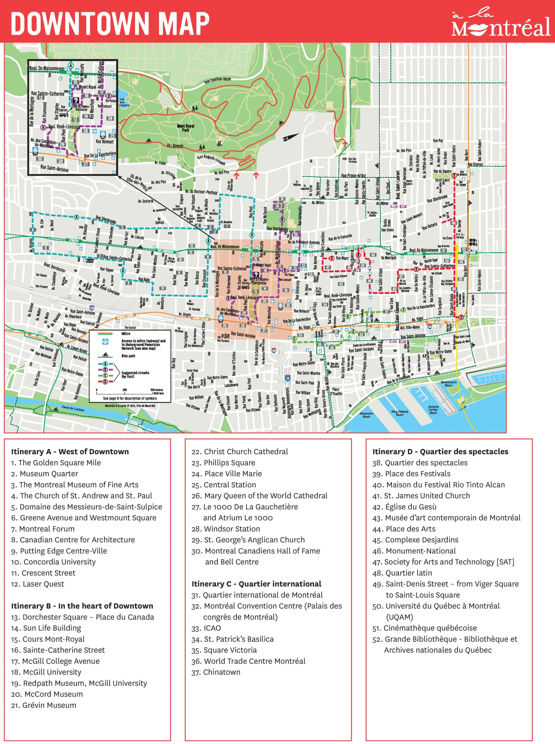 Montreal Downtown Map