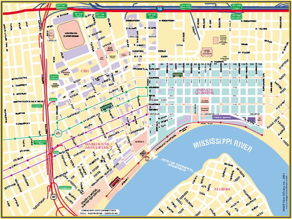New Orleans French Quarter Street Map New Orleans