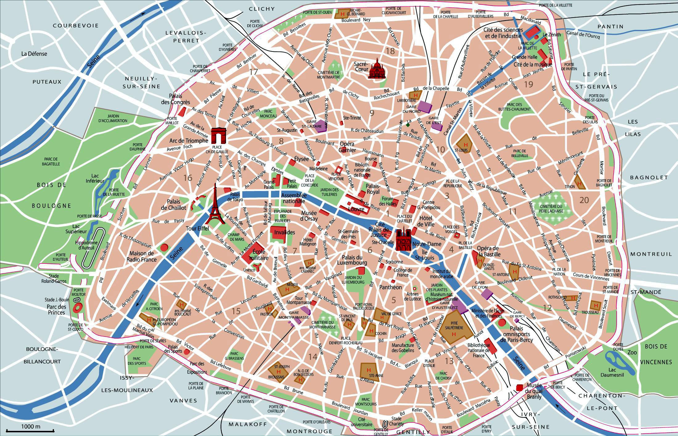 Paris Map With Top Sights Shops Hotels Paris Map Pdf