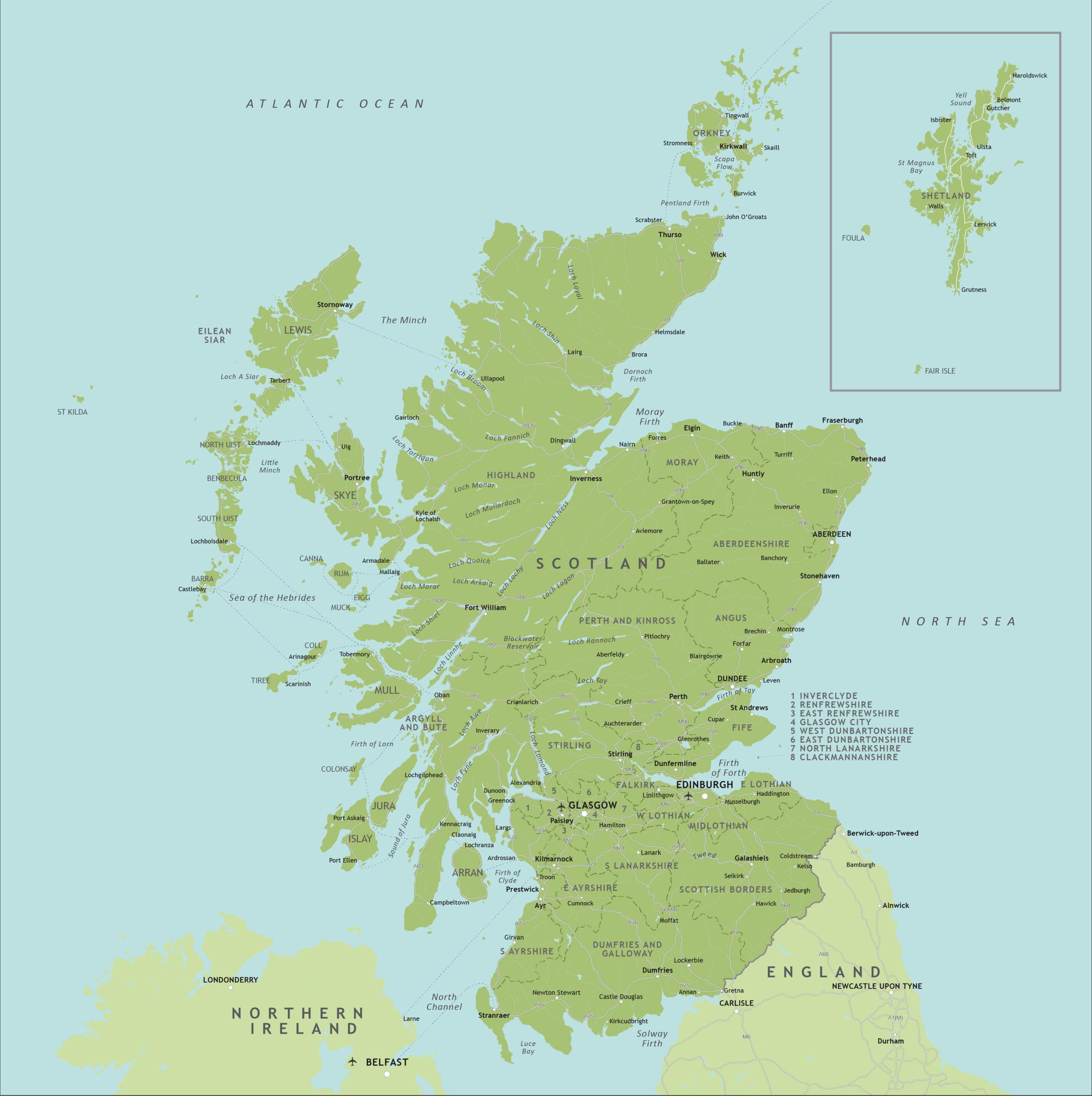 Political Map Of Scotland Royalty Free Editable Vector