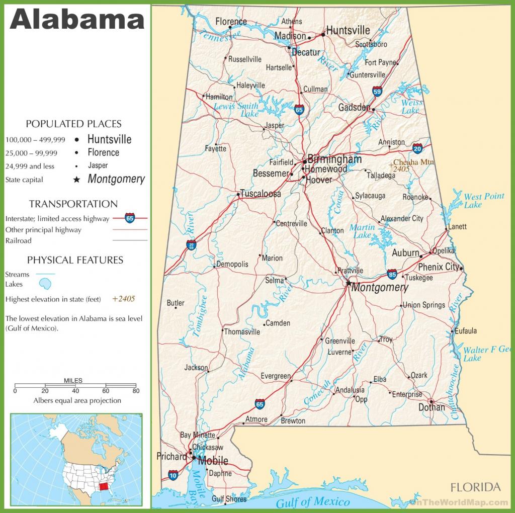 Printable Alabama Road Map Printable Maps